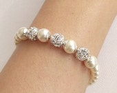 pearl wedding bracelet, rhinestone & pearl bridal bracelet, swarovski pearl bridesmaid bracelet, wedding jewelry, bridesmaid jewelry