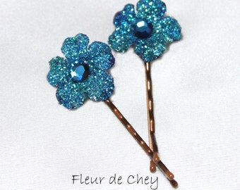 Two Glittered Curly Blossom Hair Bobby Pins- Handmade Floral Headpiece
