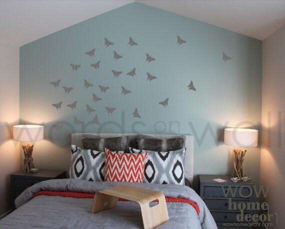 Set di 36 45 x 3 farfalle monarca vinile adesivo - Stencil camera da letto ...