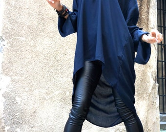 NEW COLLECTION Navy Blue  Loose Extravagant Shirt / Asymmetric shirt / Oversize Summer Top by Aakasha A11106