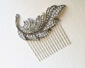 Bridal Hair Comb, Feather hair comb, Art Deco headpiece, art deco comb, wedding comb silver, crystal rhinestone silver SWIRL