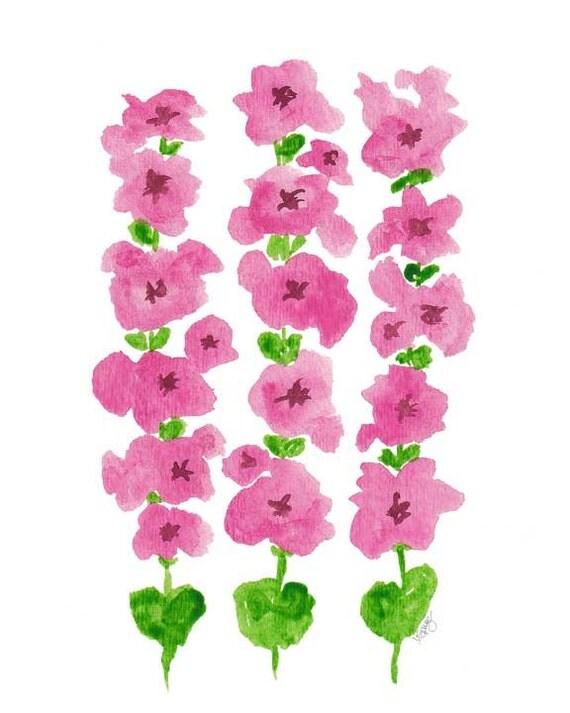 Pink Hollyhocks Print, 8x10
