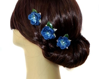 Wedding Hair Flower Clips, Wedding Hair Clips, Something Blue Hair Clips, Wedding Something Blue, Bridal Hair Clip