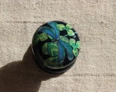 dragon fly decorative drawer pull for shabby interiors decoupage furniture hand painted knob painted knob clover and dragonfly blue knob