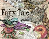 PRINT:  Fairy Tale Mixed Media Drawing on Distressed, Dictionary Page