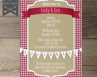 Picnic Shower Invitations Wedding O Bridal Baby Red Khaki Printable