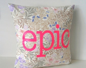 Pastel goth - Neon Epic Pillow - on vintage fabric