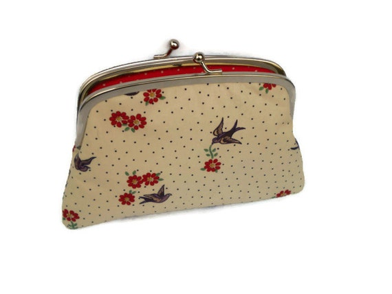 Large Coin purse - metal frame wallet with 2 compartments - Cream swallow fabric floral and Red polka dots