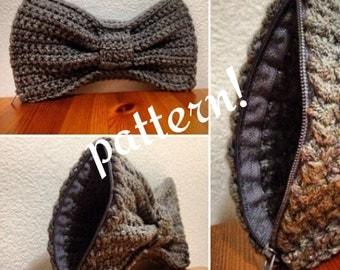 PATTERN ONLY crochet bow clutch purse