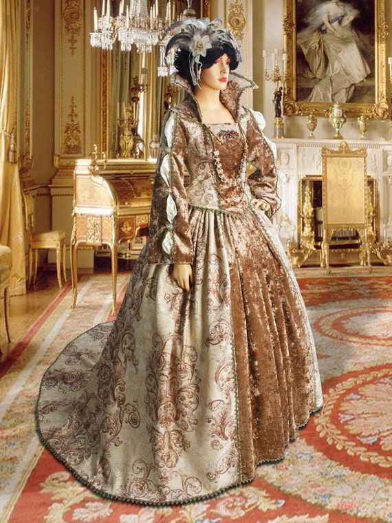 Tudor Renaissance Dress, Two-Piece in Antique Velvet and Brocade, Multiple Colors Available