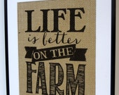75% OFF Burlap Print  8 x 10 Farm Wall Decor