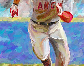 Baseball Mike Trout Canvas Fine Art Print Digital Painting Home Decor Wall Art Sports Art