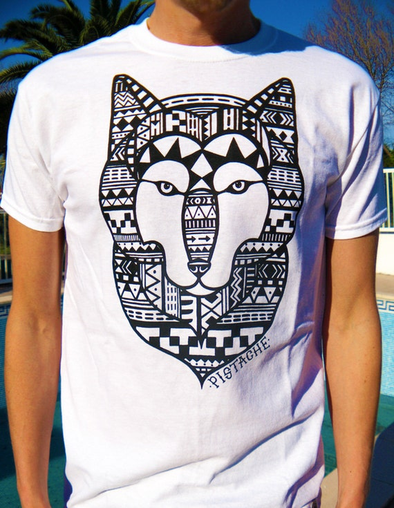 Aztec wolf t shirt white top mens boys screen by for T shirts for screen printing