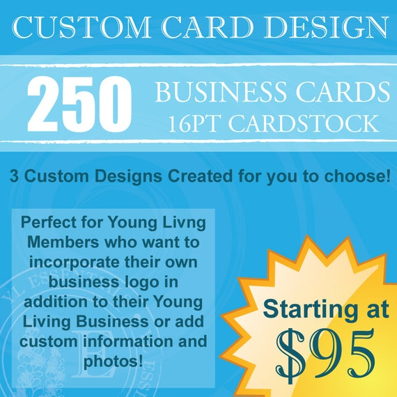 250 Young Living Business Cards CUSTOM Design & by