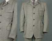 Vintage 1970s Mens Suit -- Daks Heathered Grey Wool Belted Sides -- Jacket and Trousers -- 41/42