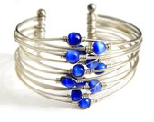 Funky Mod Blue Cats Eye WireWork Cuff Bracelet Vintage Glass Bead Silver Wire Cuff Modernist Design Blue Cats Eye Bracelet