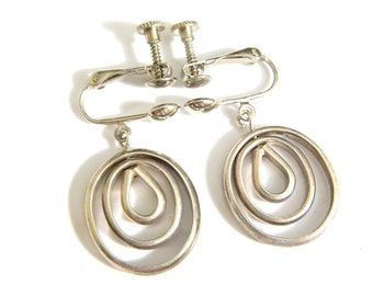 Mexico Silver Mod Earrings Vintage Sterling Modernist Style 1940s Screwback Dangle Earrings Vintage Mexico Signed 925
