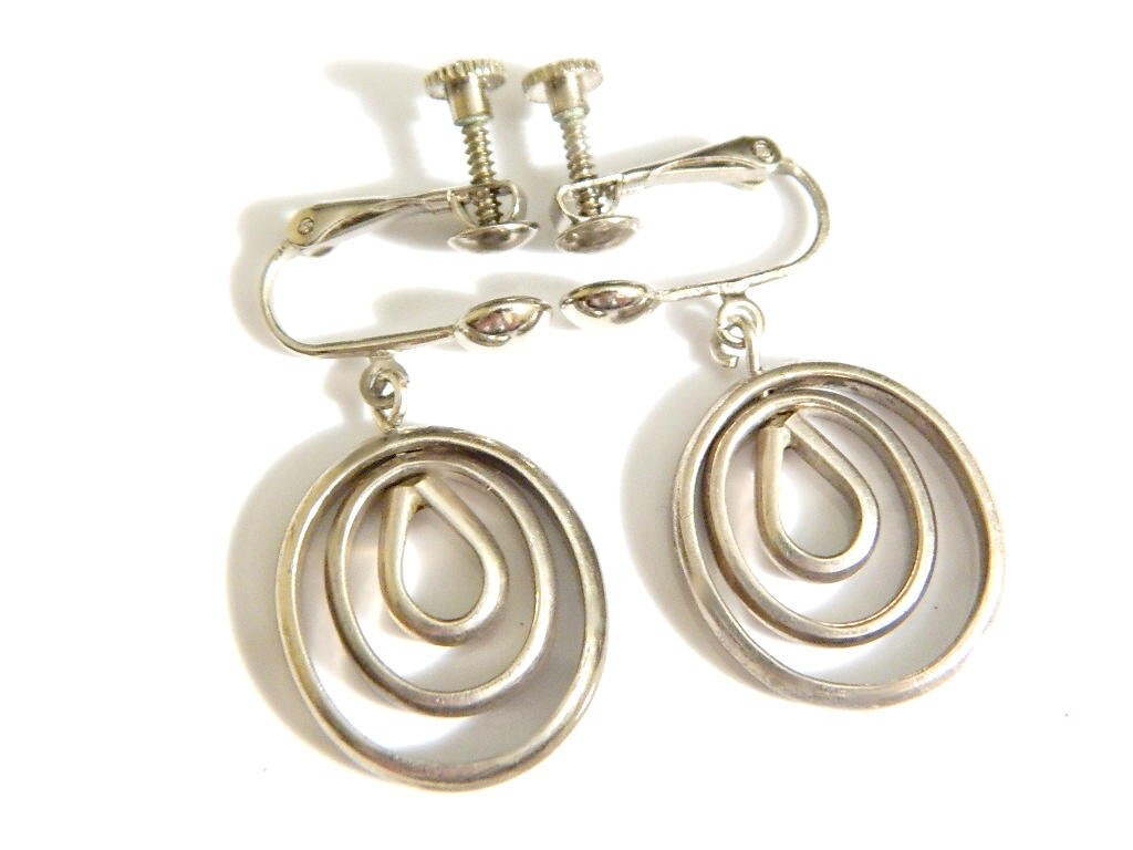 mexico silver mod earrings vintage sterling modernist style