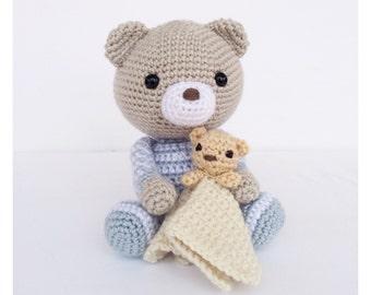 Crochet Bear/Teddy Bear Stuffed Animal in Grey and Blue