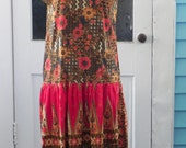 Vintage Drop Waist Ethnic Print Dress