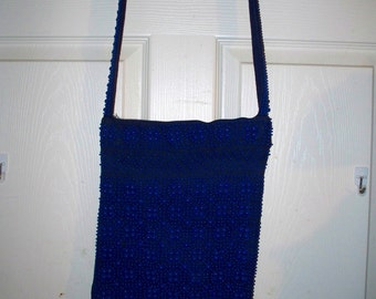 Indoos & Daves Handbag - Messengers Bag - Purse  -Navy Blue Fabric with Plastic  Beads  - Vintage