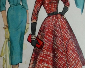 1950s One Piece Dress Slim/ Full Skirt /Vintage Sewing Pattern /Simplicity 1714/ Bust 34