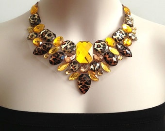 leopard bib necklace - leopard, topaz and yellow color rhinestone bib necklace, bridesmaids, wedding, prom necklace NEW