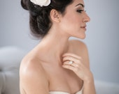 Ivory Silk Taffeta Bridal Flower Hair Comb with Vintage Beads and Silk Tulle