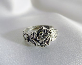 Rose Flower Spoon Ring Sterling Watson Silversmiths Circa 1905 Floral Jewelry Friendship Rings