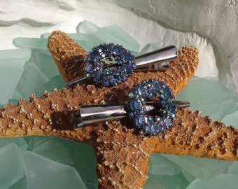 SALE CAVIAR DREAMS Vintage Assemblage Blue Aurora Borealis Rhinestone Circle Bridal Prom Hair Clips Etsy andersonhs