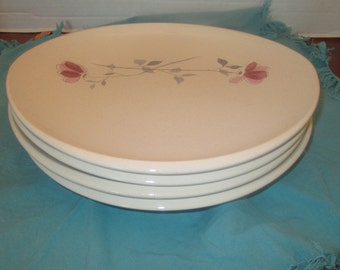 Franciscan Gladding McBean Duet Pattern Pink Flowers and Gray Leaves - Dinner Plates USA - Set of 4 - 1950s