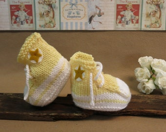 Knit Baby Booties Converse Hi Tops Lemon White Toddler Shoes Baby Shower Gift Photo Prop Boots Runners, Australia
