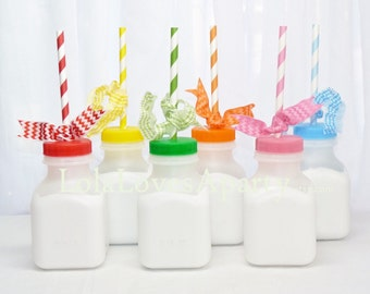 MiLk Bottles Old School RETRO - 10 School Cafeteria MiLk/ Juice BoTTles- 8oz  Birthday, farm, Cookies and Milk, party Favor, Kids Drink Cup