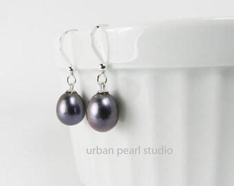 Black Pearl Earrings, Bridesmaid Jewelry, Black Pearl Drops, Pearl Wedding Jewelry