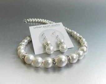 Bridal Pearl Necklace Earrings, Swarovski Graduated Pearl Jewelry Set, Earrings Necklace Set