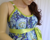 Blue Floral Maternity Hospital Gown for delivery nursing breastfeeding dress