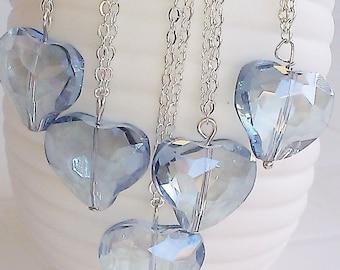 Unique crystal heart faceted necklace bride bridesmaid love jewelry