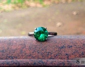 Emerald Ring, Engagement Ring, Blackened Sterling Ring, Silver and Emerald Cocktail Ring, May Birthstone Ring