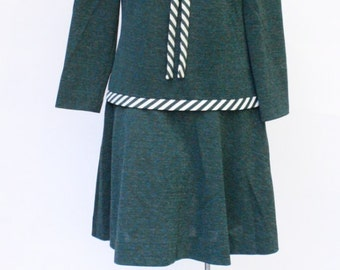 Vintage RK Knits / Scooter Dress / Dropwaist Dress / 1960's Dress / Prep School Dress /  RK Knits Dress L/XL