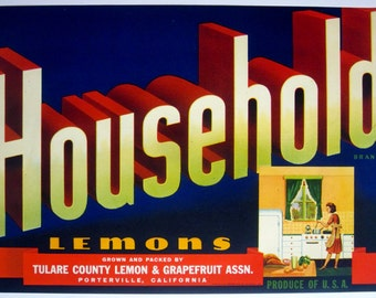Vintage 1950s Fruit Crate Label Household Brand Lemons Unused Advertising Excellent for Framing With Vivid Colors Great Retro Kitchen Decor