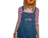 SALE Rare 90s Mcdonalds Mickey Mouse Embroidered Cut Off Jean Overalls