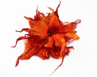 Felted Brooch felt Tangerine Brooch nuno nunofelt silk flower folk boho wool victorian fairy