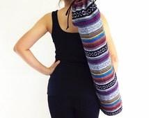 Handmade Yoga Mat Bag Yoga Bag Sports Bags Tote Yoga Sling bag Pilates Bag Pilates Mat Bag Woven Yoga Bag Women bag Woven Cotton bag (WF14)