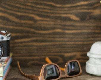 Wood Sunglasses, Brown 7-Ply Wooden Eyewear, Recycled Skateboard Wood Sunglasses - LKBR