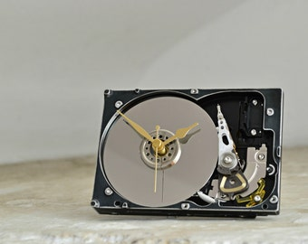 Hard Drive Desk Clock - Geekery Office Clock - Industrial Decor - Desk Office Accessories