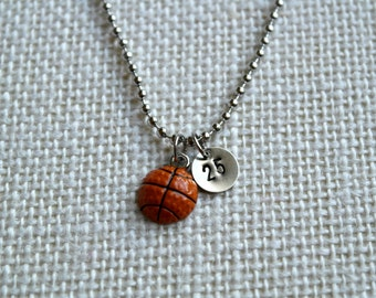 Basketball Charm Necklace - You Choose Number - Hand Stamped - Nickel Silver