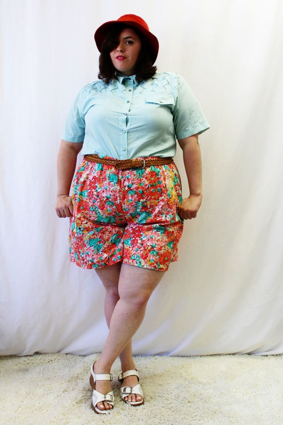 Image Gallery of Plus Size Vintage High Waisted Shorts
