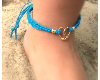 Braided Hemp Ankle Bracelet with Gold Wire Heart, More Colors Available