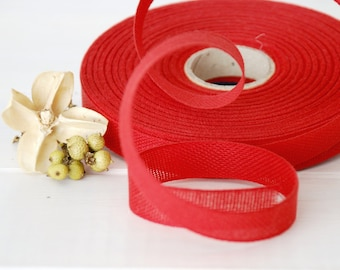 "Red Cotton Ribbon - 3 or 6 Yards of 100% Cotton Ribbon - 1/2"" wide - Red Cotton Trim - Red Cotton Ribbon - Holiday Season -Buy More and Save"
