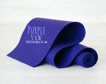 """100% Merino Wool Felt Roll - 5"""" x 36"""" Wool Felt Roll - Wool Felt Color Purple-3140 - Pure Merino Wool Felt - Pastel Color Wool Felt - Felt"""